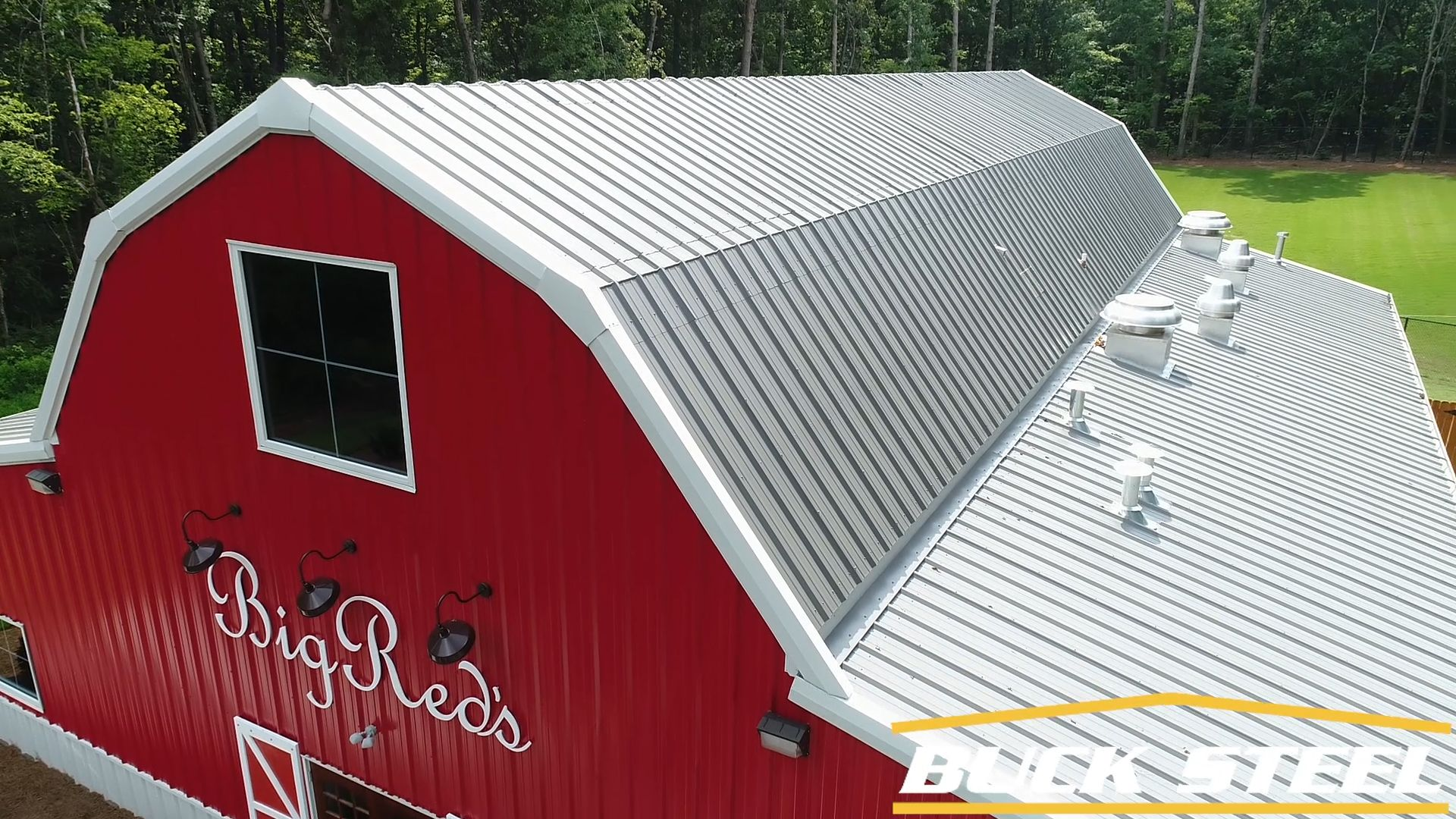 Best Red Metal Barn • Gambrel Roof • Leantos And Wainscoting 400 x 300