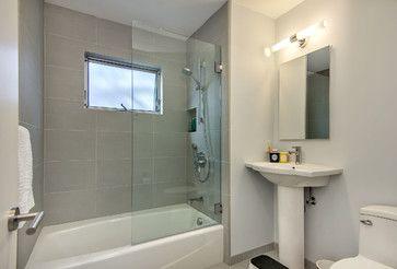 Half Glass Door Midcentury Bathroom Bathroom New
