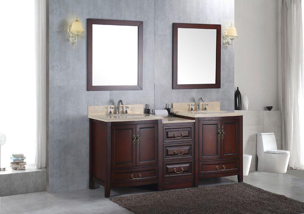 Double 72 Bathroom Sink Vanity Solid Wood Cabinet W Ivory Cream Marble Top Marble Top