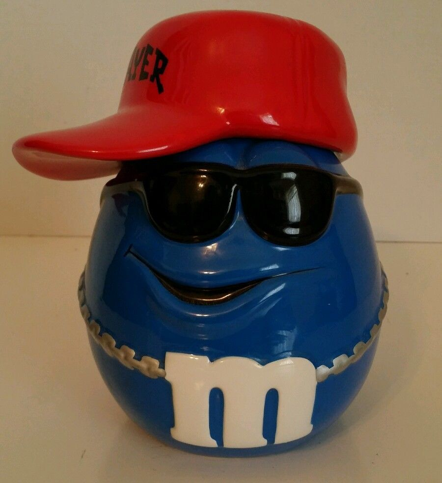 1cd5673b028 Galerie M Ms Candy Jar Cookie Canister Blue M M Player Baseball Hat  Sunglasses in Collectibles