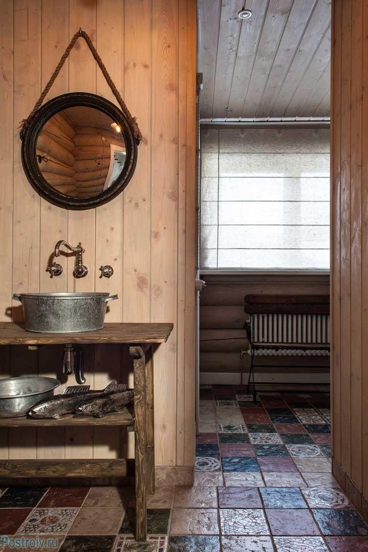 Ванная комната в загородном доме. Фото интерьера ...