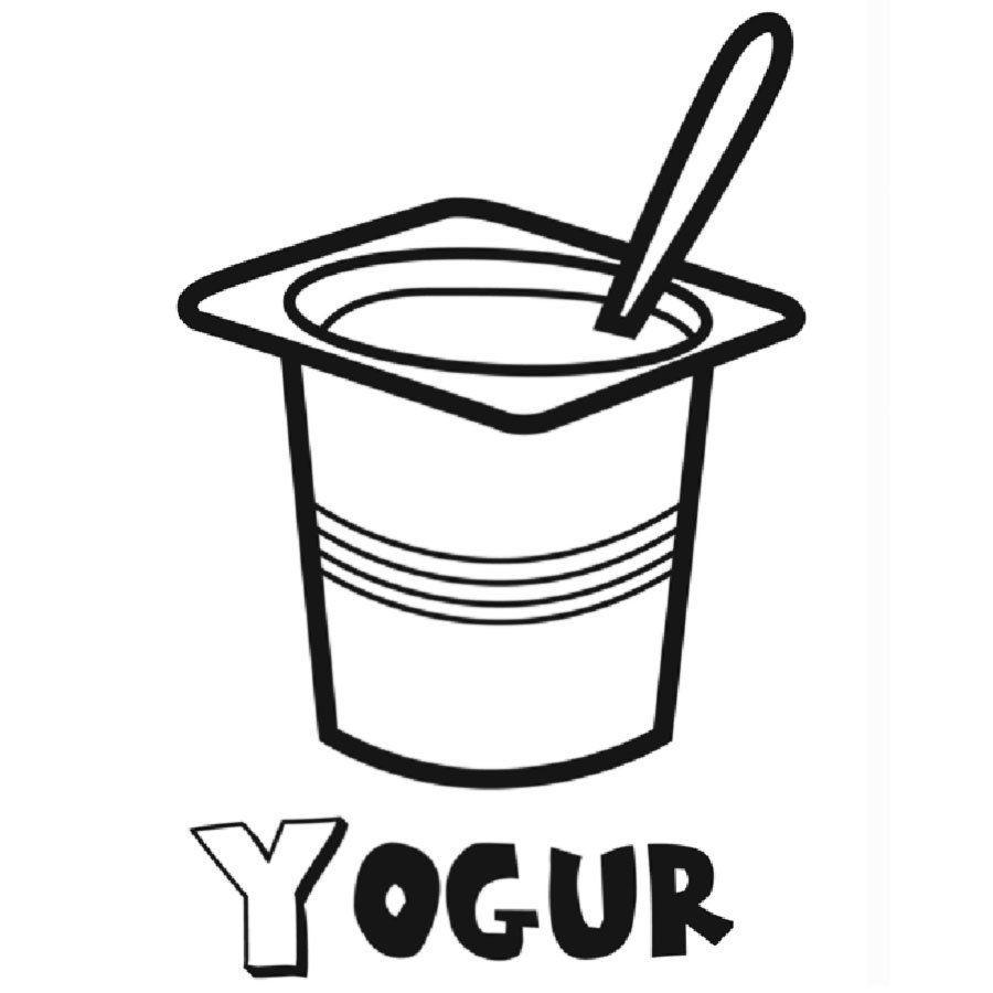 Dibujo De Un Yogur Para Colorear Alimentos Para Colorear Desayuno Para Bebes Alimentos