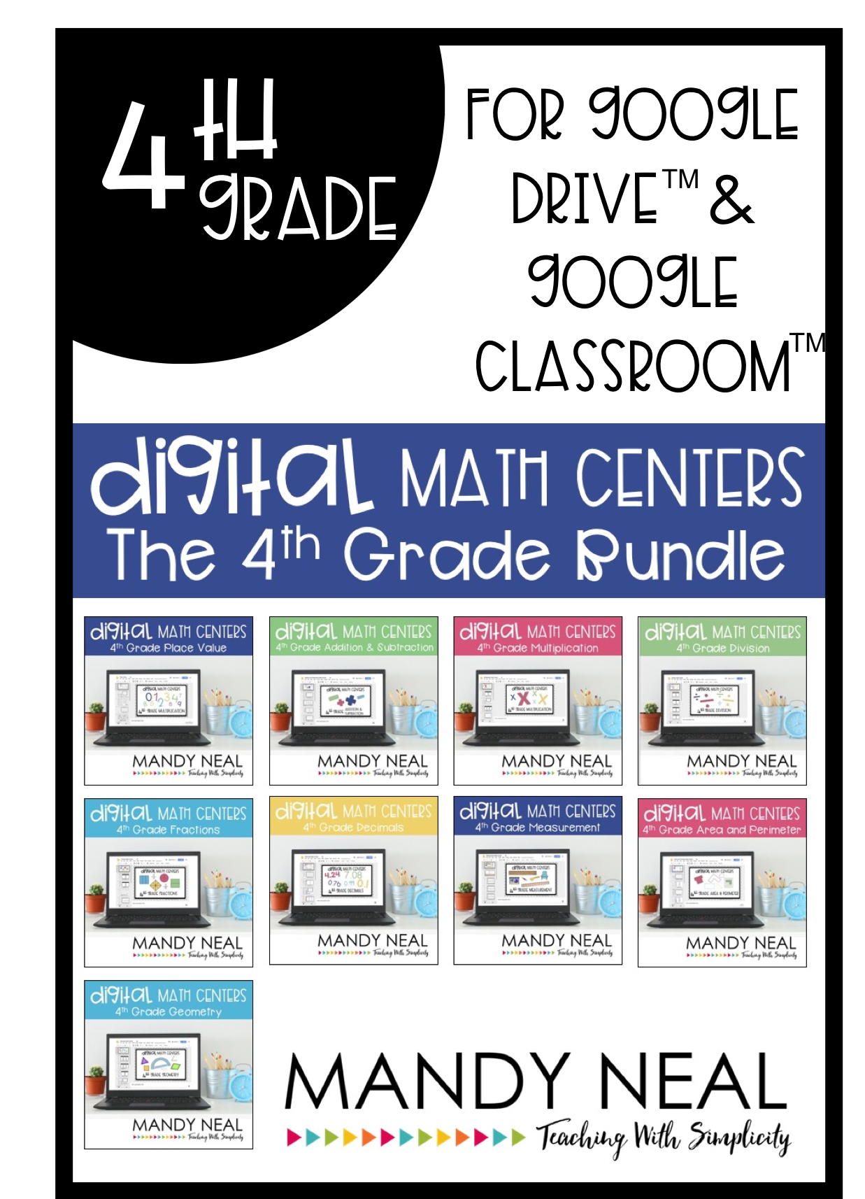 Halfoff2020 Fourth Grade Digital Math Centers Distance Learning Bundle Google Classroom Math 4th Grade Math Fourth Grade Math
