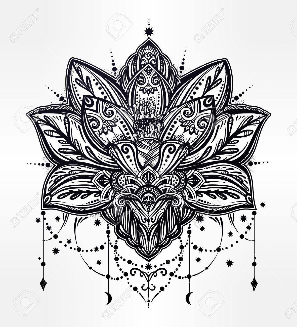 Vector Ornamental De Flores De Loto Arte Etnico Patron De Paisley De La India Dibujado A Mano Ilu Tatoo De Mandalas Tapar Tatuajes Tatuajes De Arte Corporal