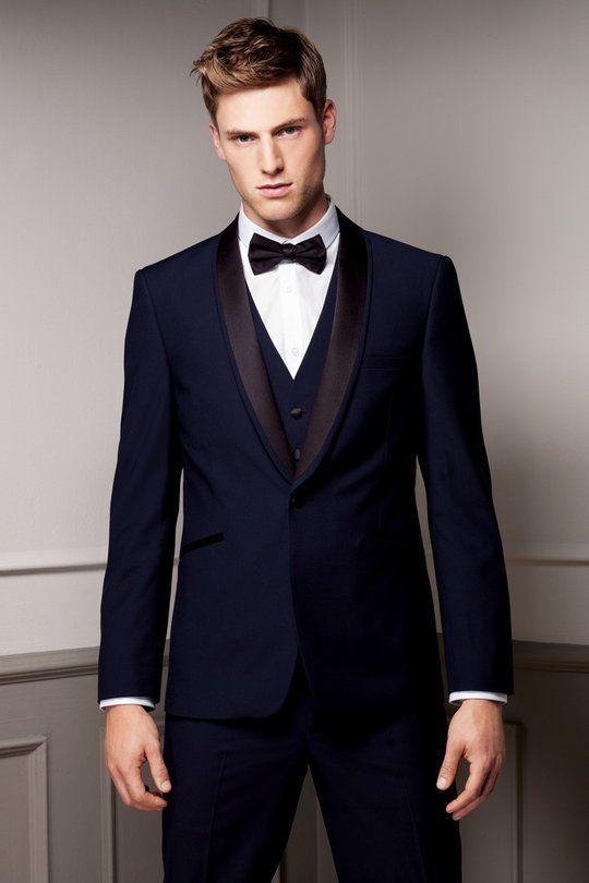Latest Coat Pant Designs Navy Blue Shawl Lapel Men Suits Tuxedo Prom ...