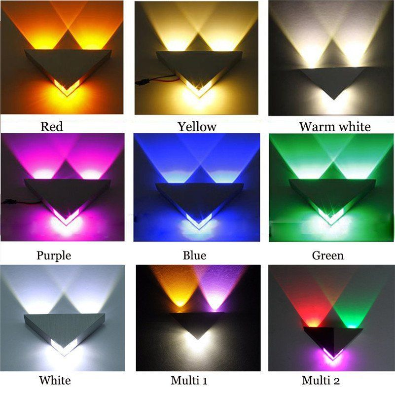 Modern Led Wall Lamp 3w Fashion Home Decoration Indoor Triangle Multi Color Wall Lights For Home Led Wall Lamp Wall Lamp Sconce Lighting