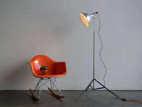 Vintage Mid Century Modern Industrial Tripod Floor Lamp