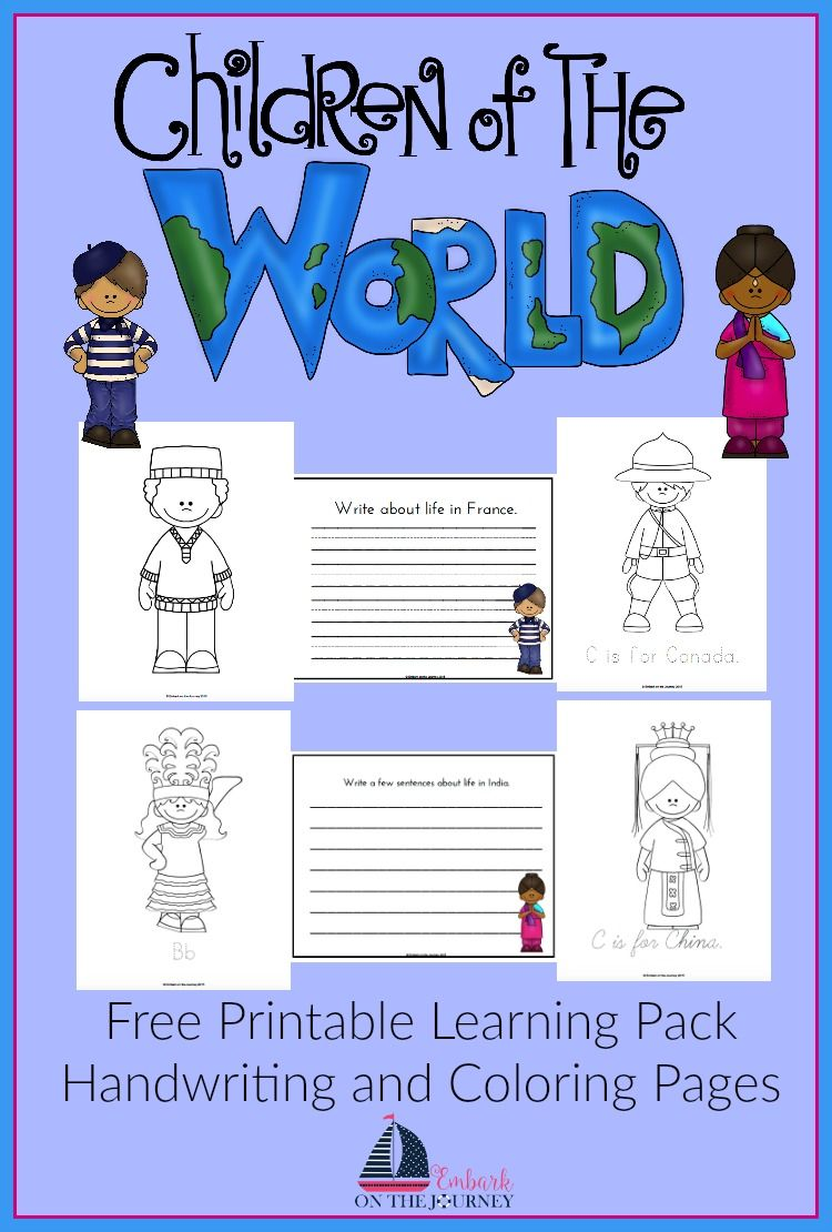Children Around the World Coloring and Writing Pages   Around the world  theme [ 1110 x 750 Pixel ]