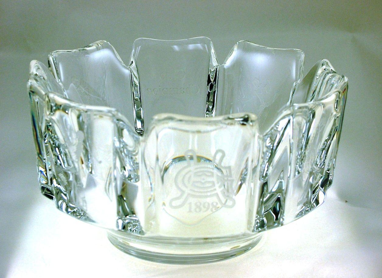 Orrefors Corona Bowl engraved crystal housewarming