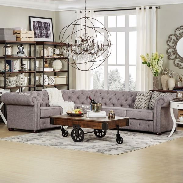 TRIBECCA HOME Knightsbridge Tufted Scroll Arm Chesterfield 6-Seat L-Shaped Sectional : sectional sofa overstock - Sectionals, Sofas & Couches