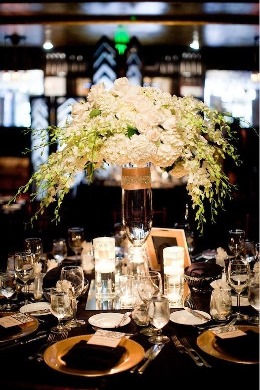 Black Gold And Ivory Black And Gold Centerpieces White Floral