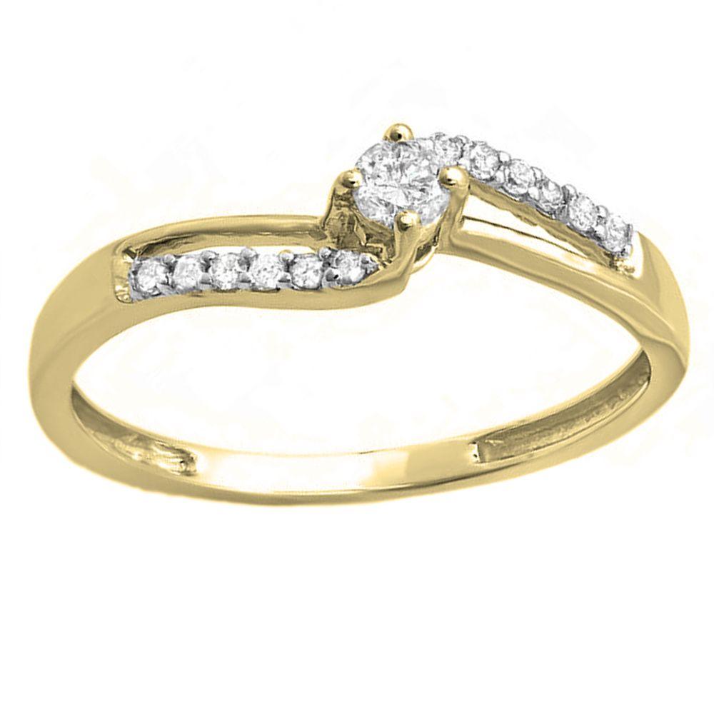 14k Gold 1/5ct TDW Round Diamond Wave Bridal Promise Engagement Ring