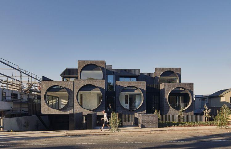 Runde Fenster runde fenster format fassade wohngebäude architektur