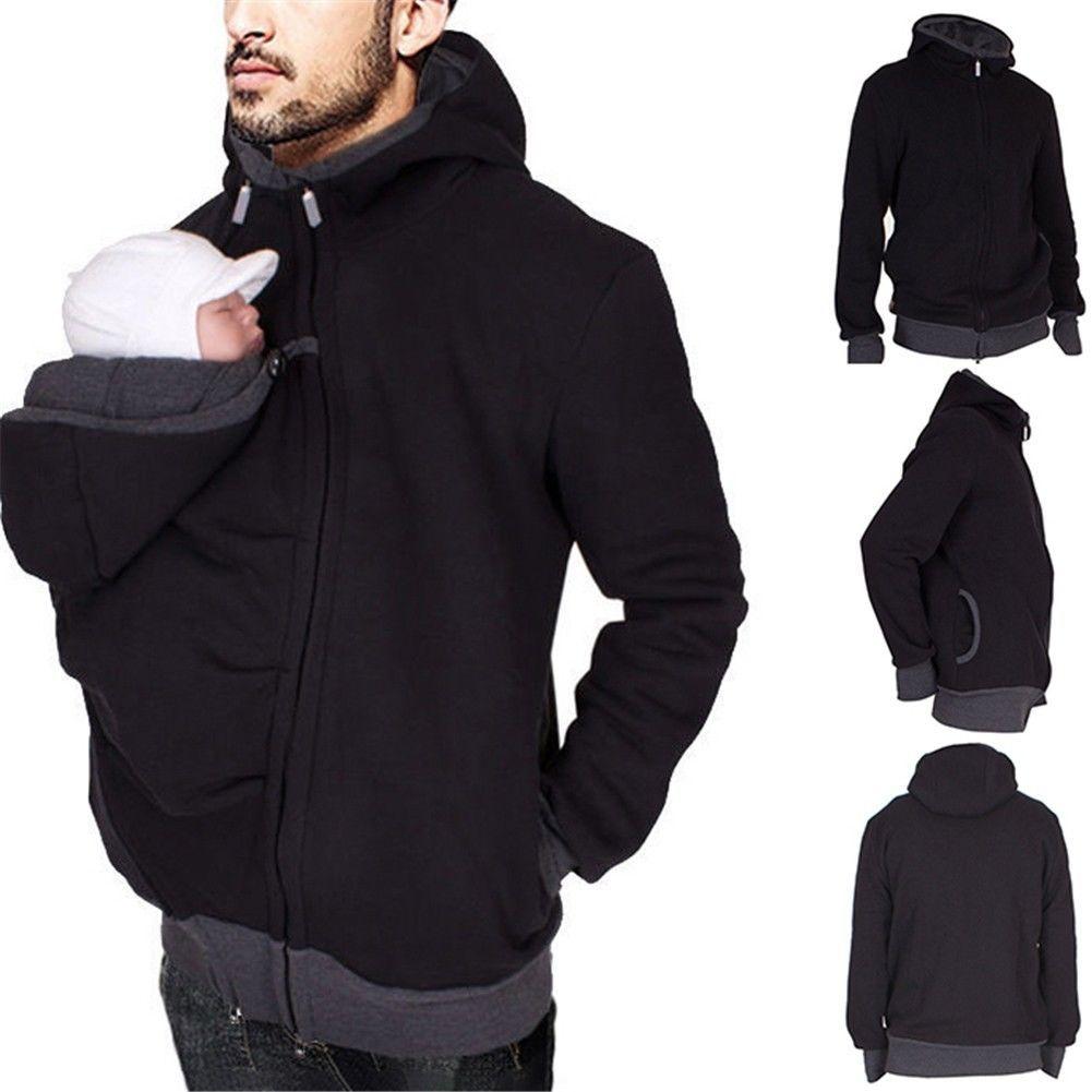 Mens Baby Carrier Kangaroo Hoodie Jacket Casual Sweater Dad Mom Outerwear Coat