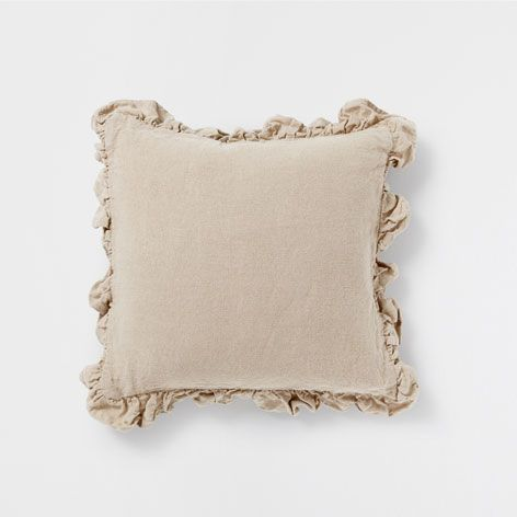 Natural-colored linen frill cushion - Decorative Pillows - Bedroom | Zara Home United States