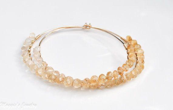 Ombre Citrine Hoop Earrings, November Birthstone by maggiesjewelry,