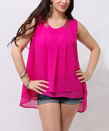 This Hot Pink Embellished Layered Sleeveless Top is perfect! #zulilyfinds