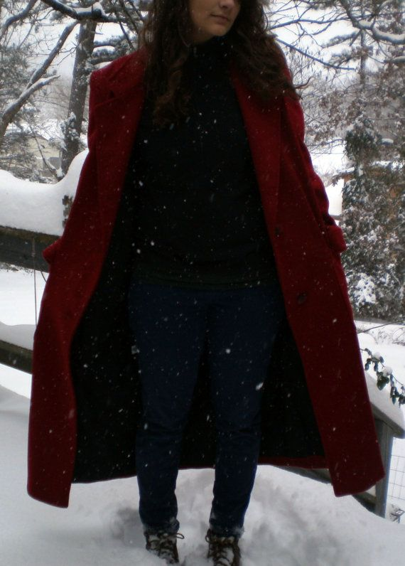 Cassidy 1980s Coat 100 Wool Size 8 in Red by ozarkhandicrafts, $90.00