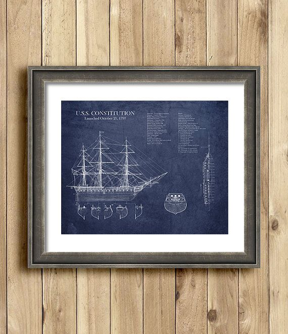 Uss constitution ship blueprint nautical decor historical uss constitution ship blueprint nautical decor historical blueprint art seaside decor wall malvernweather Choice Image