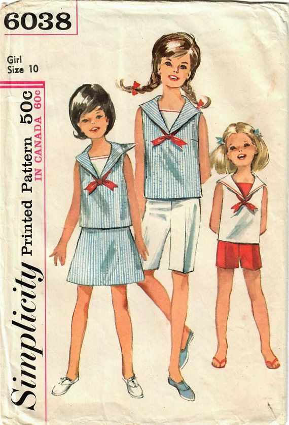 1960s Simplicity 6038 Vintage Sewing Pattern Girls Sailor Shirt ...