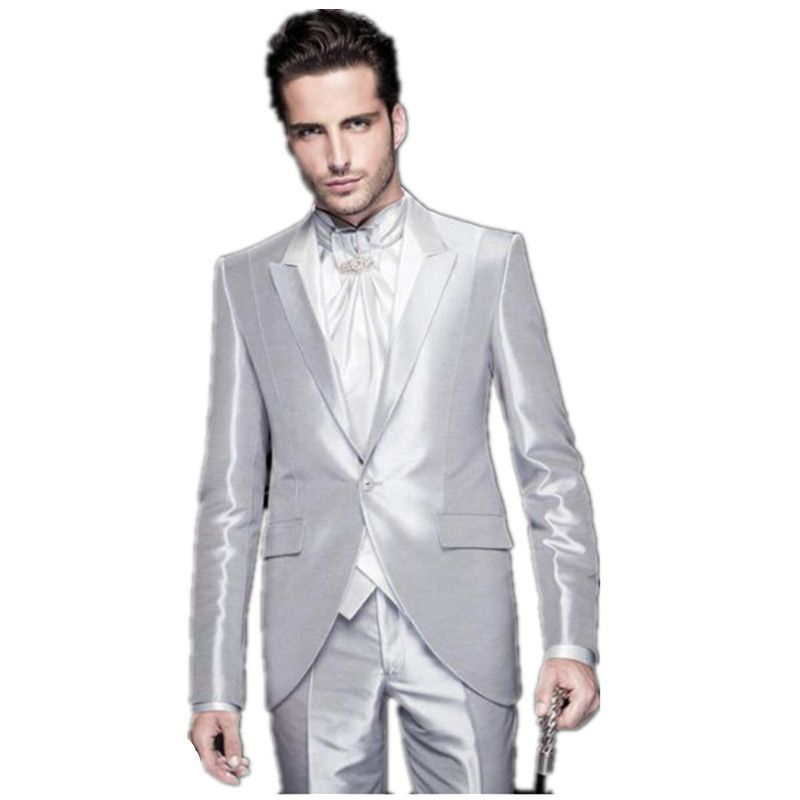 Brand New Peak Lapel Silver Grey Tailcoat Trim Fit Groom Tuxedos ...
