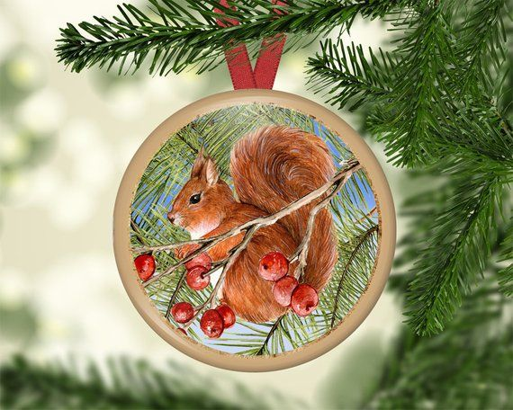 Christmas Tree Ornaments, Wreaths, Birds, Squirrels, Hanging