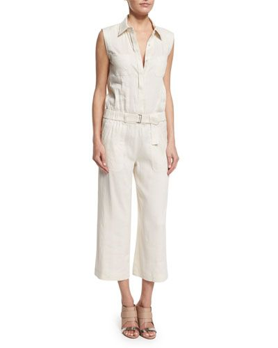 cb3b8f181916 VINCE Linen-Blend Sleeveless Belted Utility Jumpsuit.  vince  cloth ...