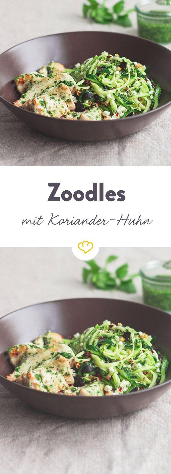 Coriander chicken with zucchini noodles - -