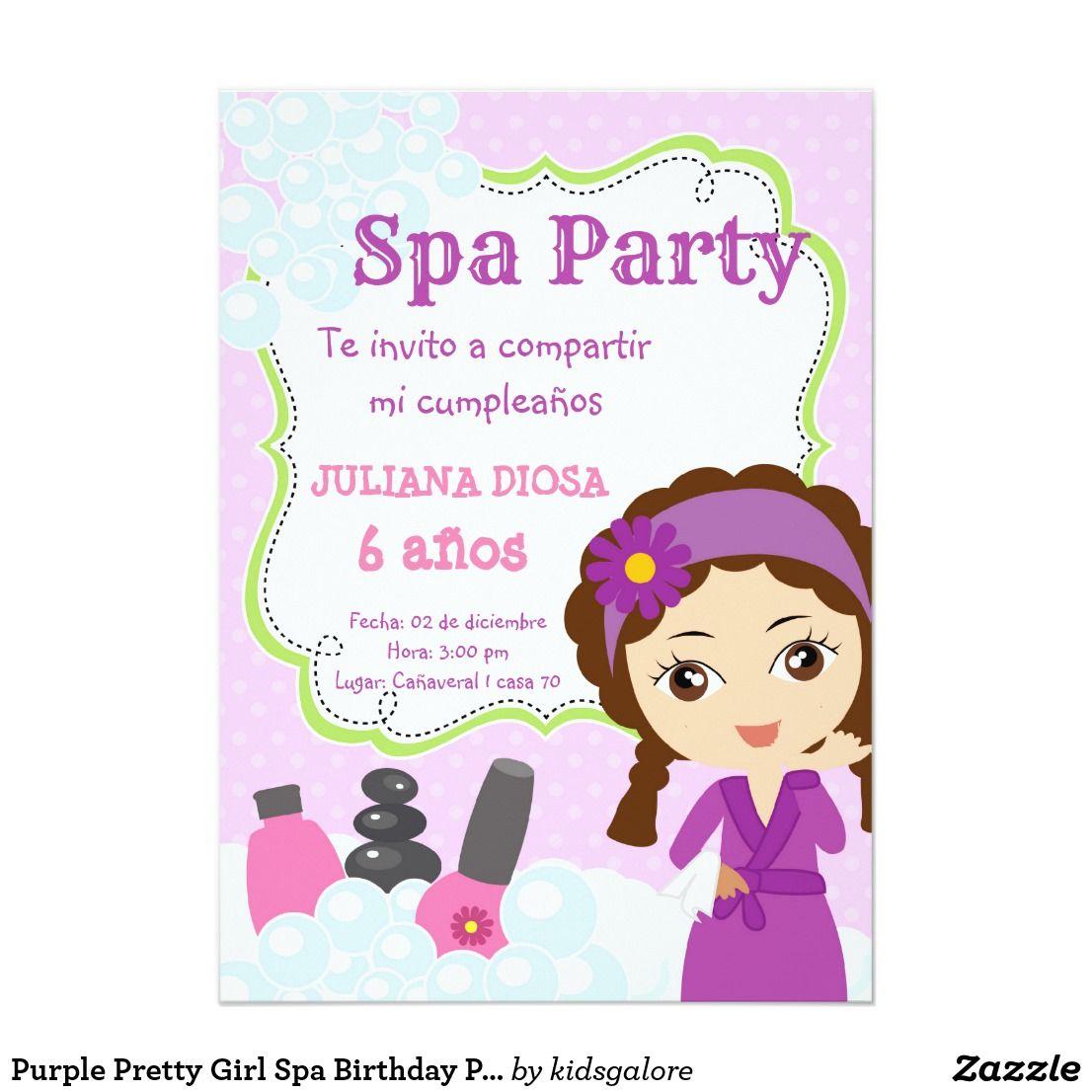 Invitación Fiesta De Cumpleaños Bonita Púrpura Del Balneario