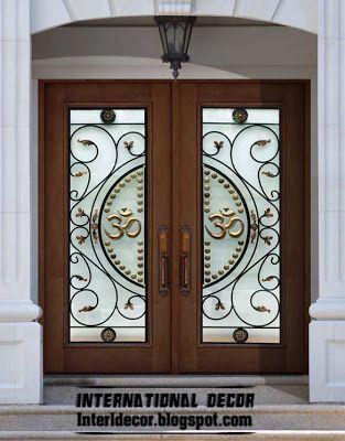 American Wooden Door With Stained Glass Design And Glided Iron Stained Glass Door Wooden Doors Wooden Door Design