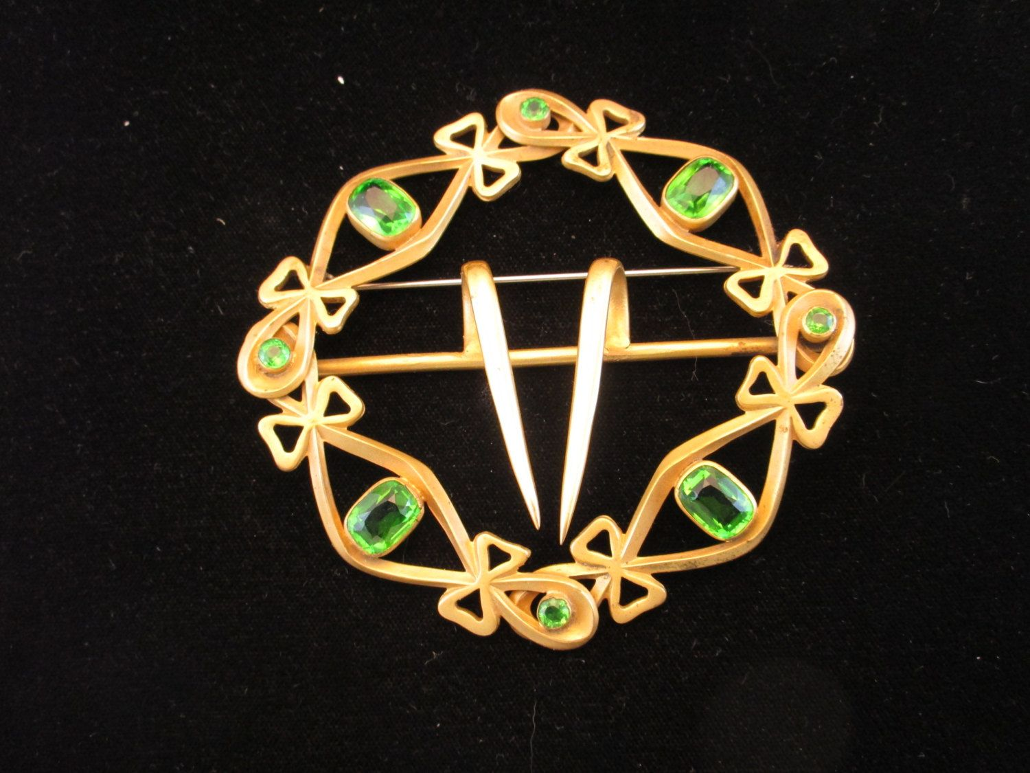 Victorian Belt Buckle Converted to Beautiful Brooch, Green Rhinestones by MySimpleDistractions on Etsy