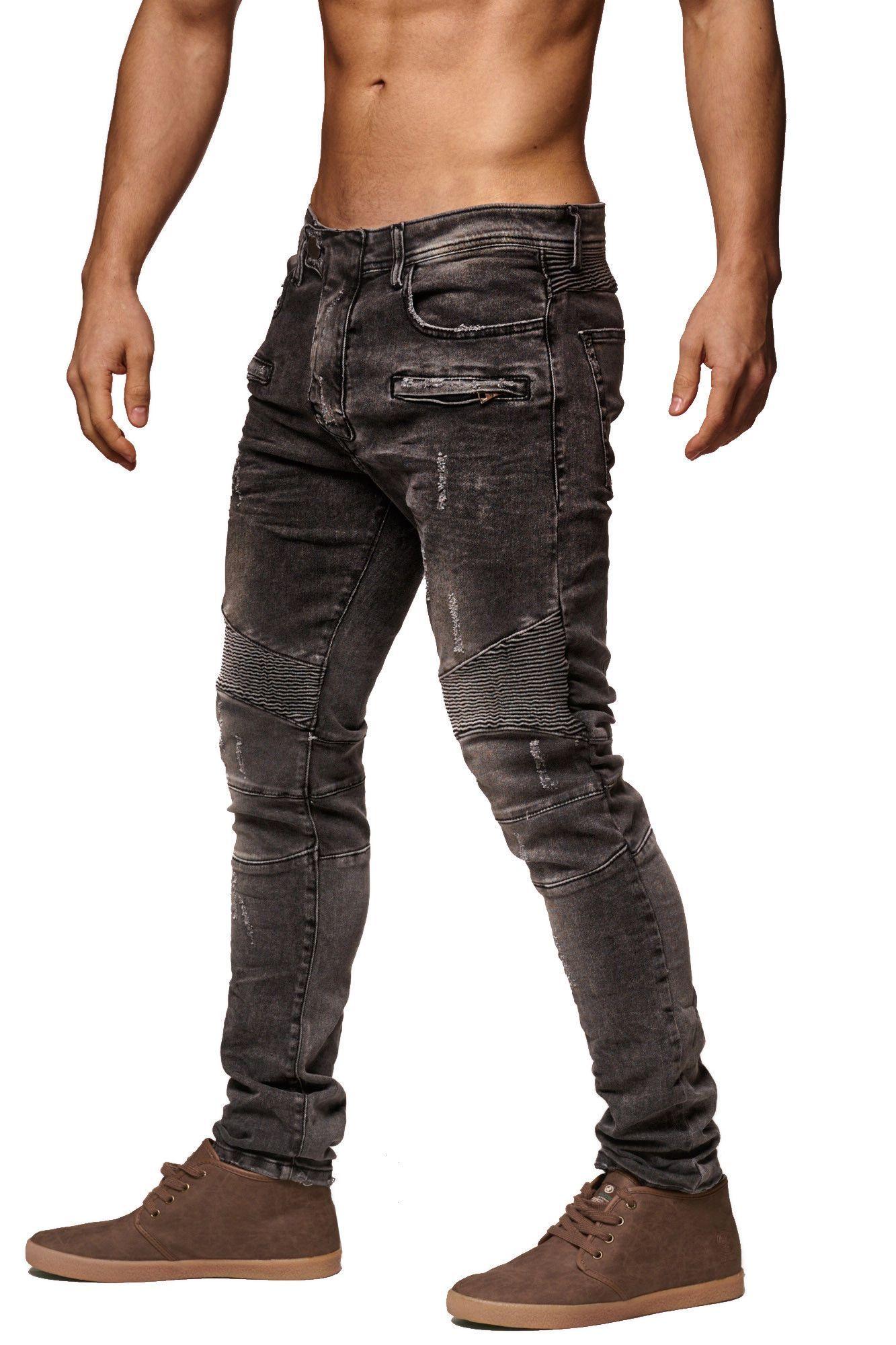 Fs men slim fit denim temp biker distressed jeans