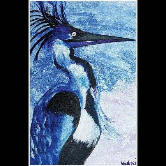 Great Blue Heron Coastal Art By Scott D Van by MySalvagedPast