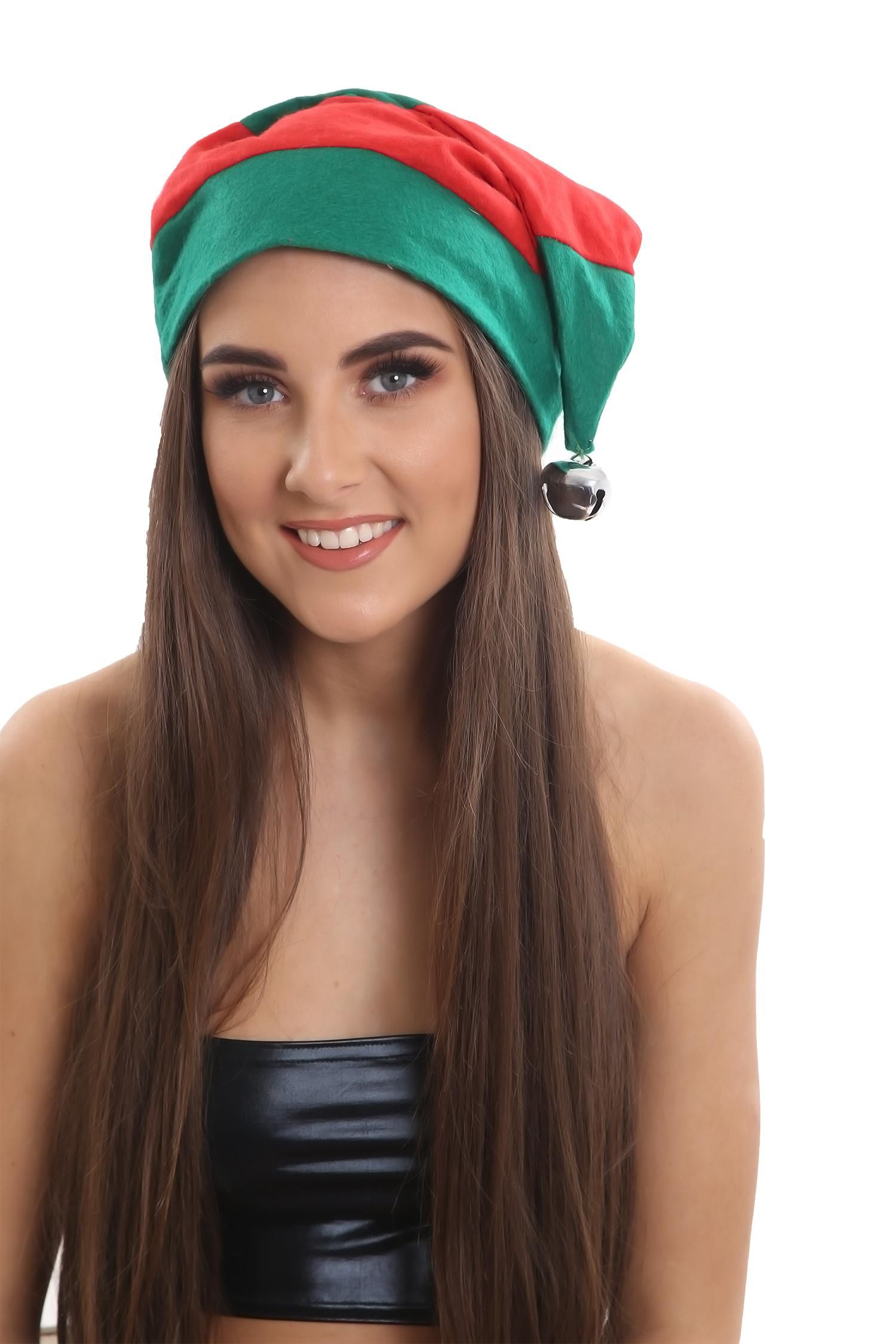 Christmas striped Elf Hat with a silver coloured Bell