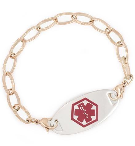 Rose Tone Faceted Link Medical ID Bracelet