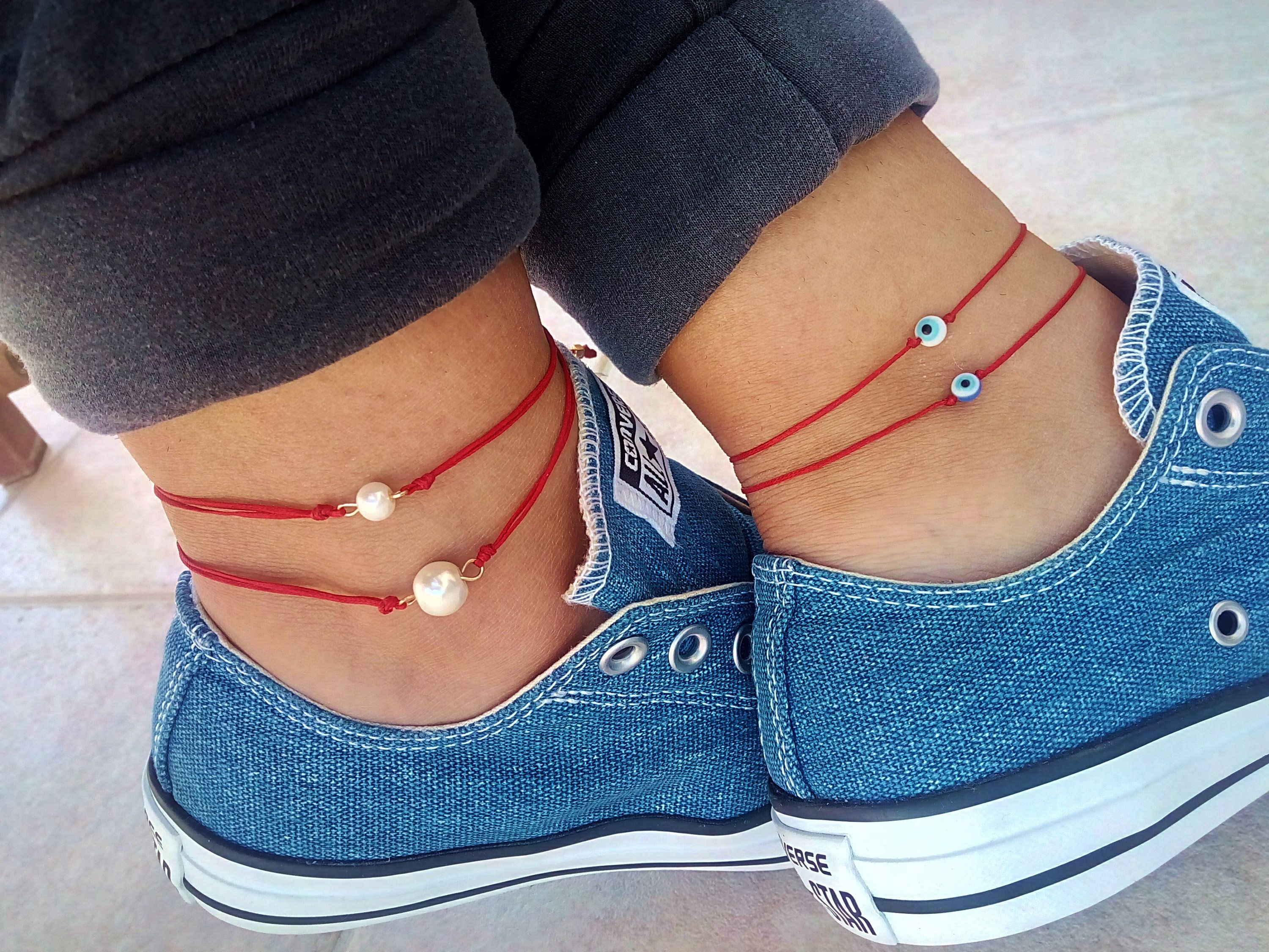 ankle anklet bracelets on pretty jewellery beach feet unique string ksvhs
