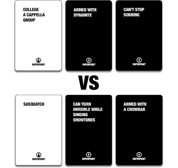 Superfight. new card game Imagine Cards Against Humanity
