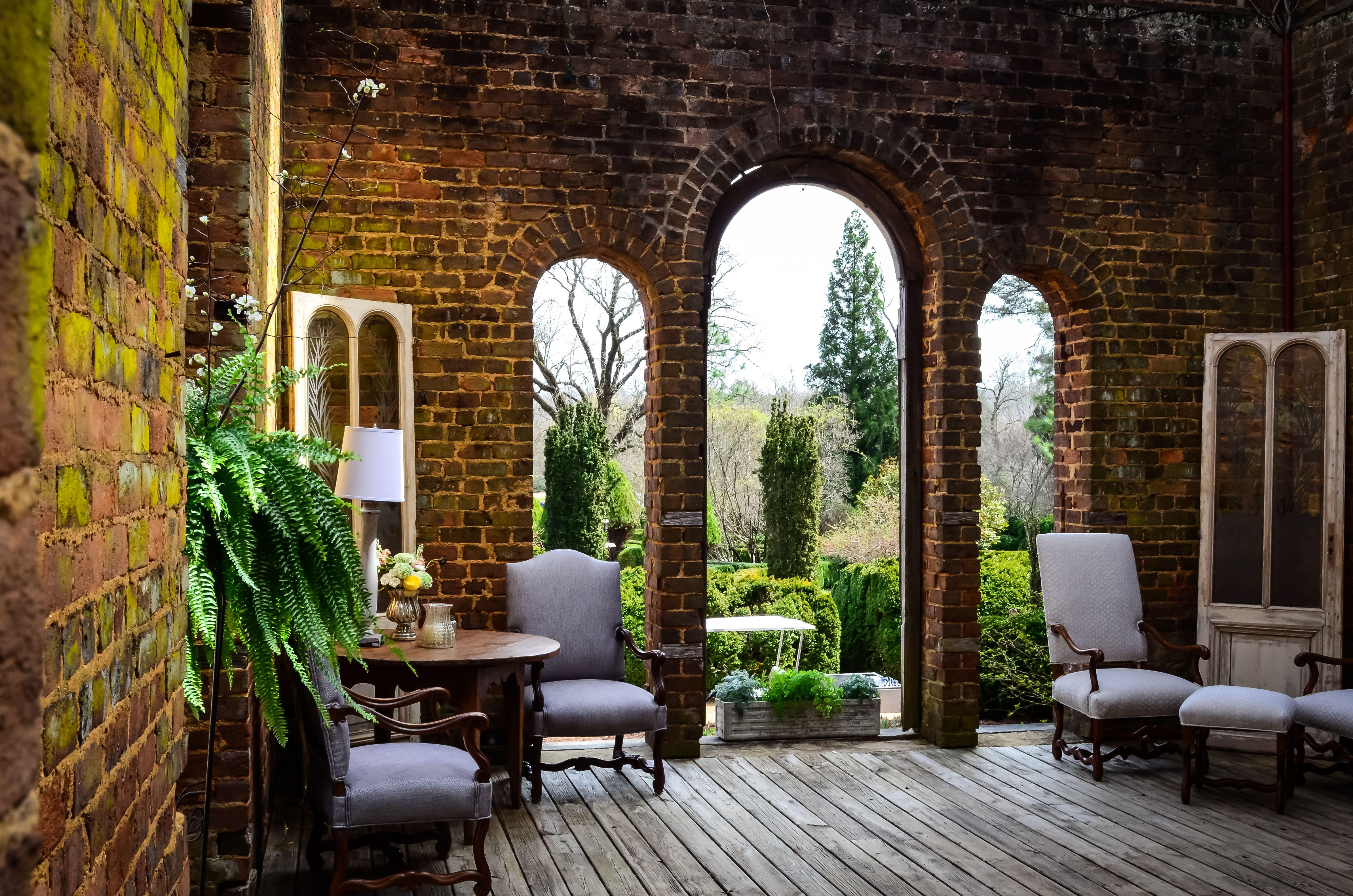 furnished ruins at a vintage spring wedding at barnsley gardens