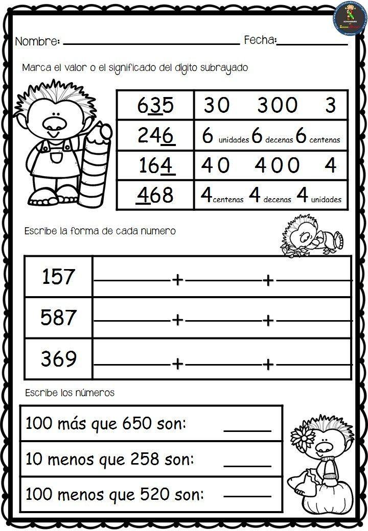 Fichas Para Trabajar La Comparación De Números En Segundo De Primaria Ejercicios Matematicas Primaria Matematicas Tercero De Primaria Matematicas Tercer Grado