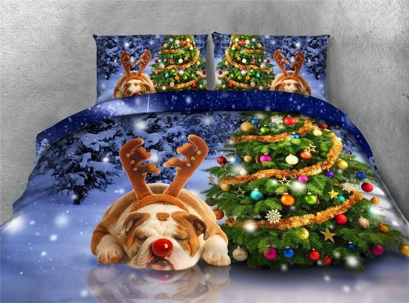 Christmas Tree and Sleeping Dog Printing 4-Piece 3D Bedding Sets