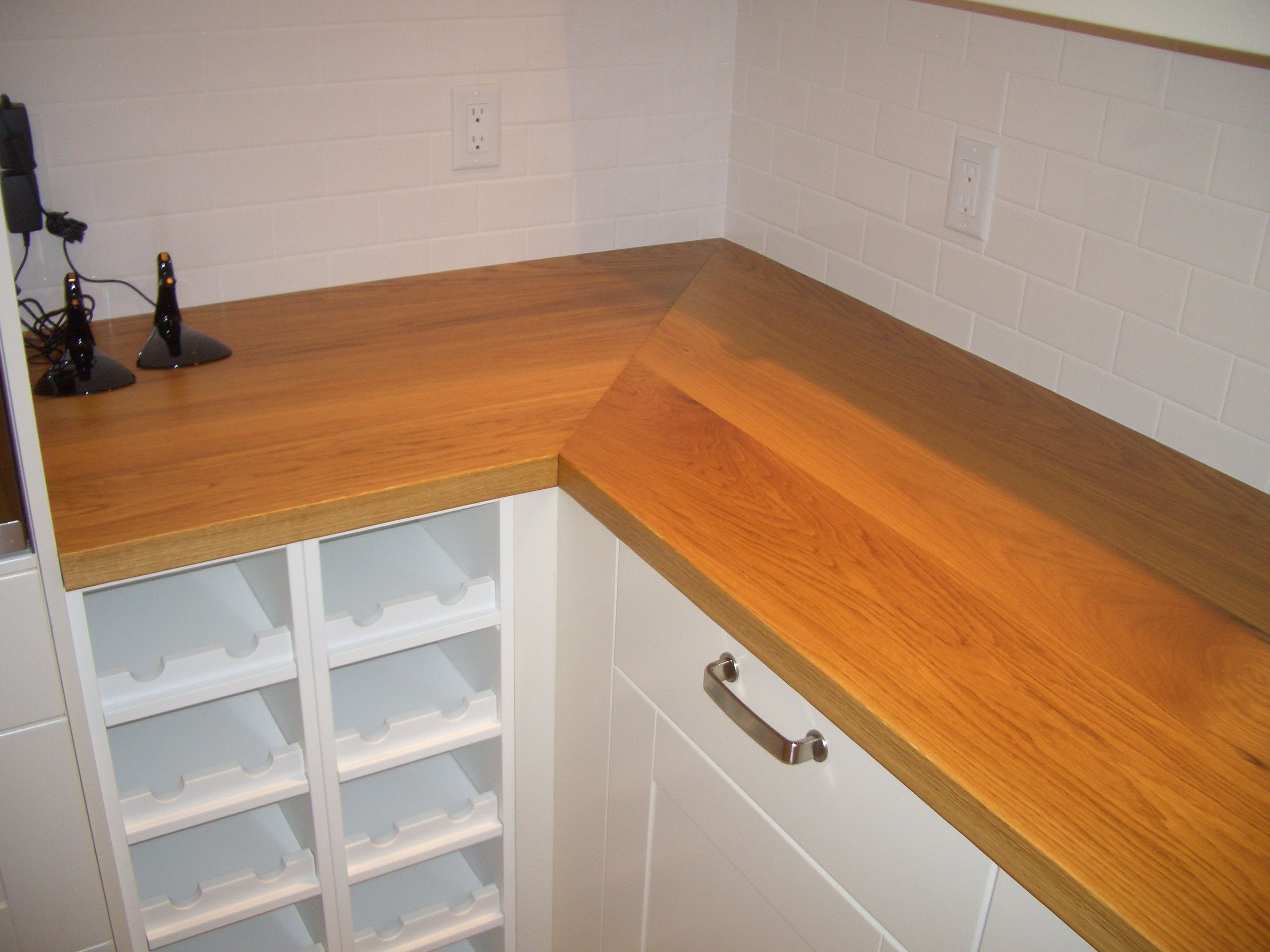 Custom Solid Wood Face Grain White Oak Counter Tops With A Mitre
