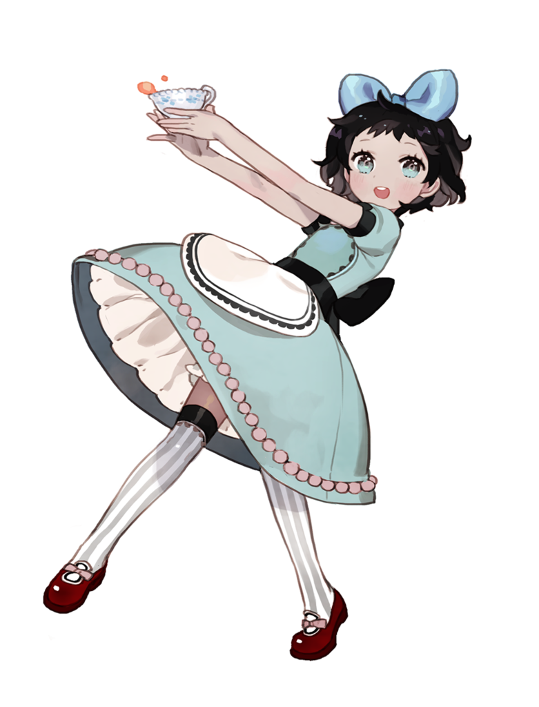 Anime girl original short hair black hair blue eyes bow dress kneehighs like if you save see this image on photobucket