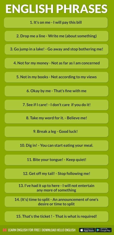 Estas Frases Pueden Ser útiles Para Mejorar Tu Vocabulario En Inglés Y Hablar De Forma Más Flui Vocabulario En Ingles Expresiones En Ingles Pedagogia En Ingles
