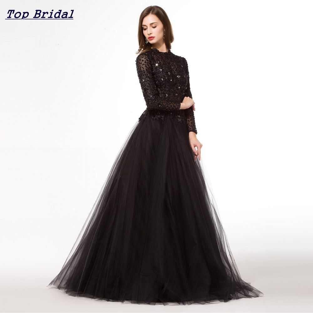 Aliexpress buy long puffy black prom dress long clothes