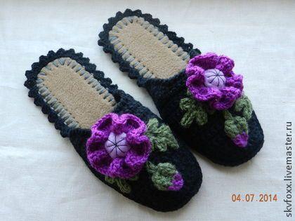 """Обувь ручной работы. Ярмарка Мастеров - ручная работа """"Маки цвета фуксии"""" тапочки (валяная подошва). Handmade."""