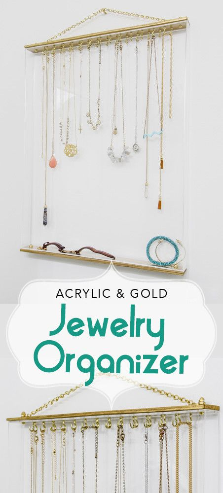 Jewelry Organizer Stylish Acrylic Gold Framed Necklaces