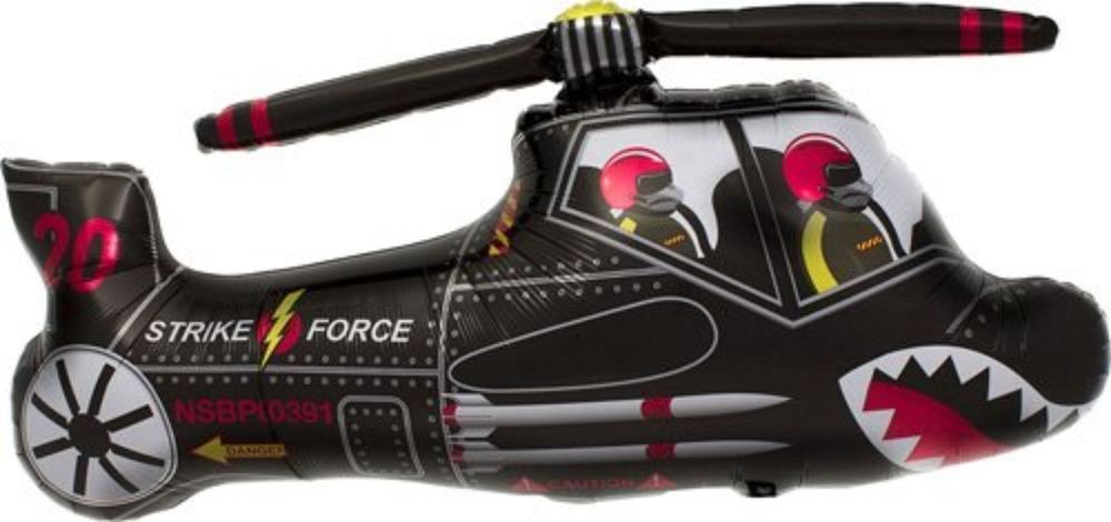 """STRIKE FORCE BLACK HELICOPTER    Mylar Foil Balloon  36"""" #Unbranded #Parties"""