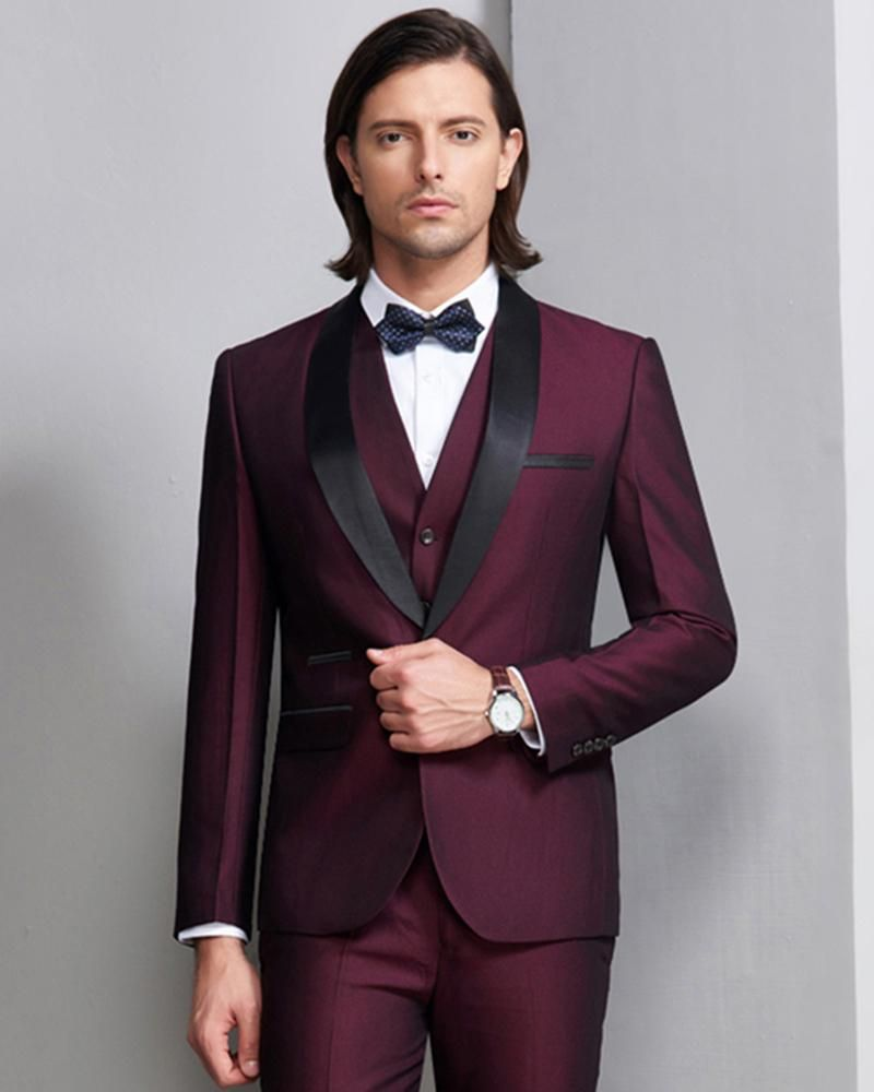 High Quality Wine Shawl lapel Prom Men Tuxedo Groom Mens Suits 3 pieces ( Jacket Pants vest) 7df207682dd