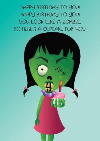 Zombie Cupcake Greeting Card Happy Birthday Halloween Zombie Birthday Happy Birthday Meme