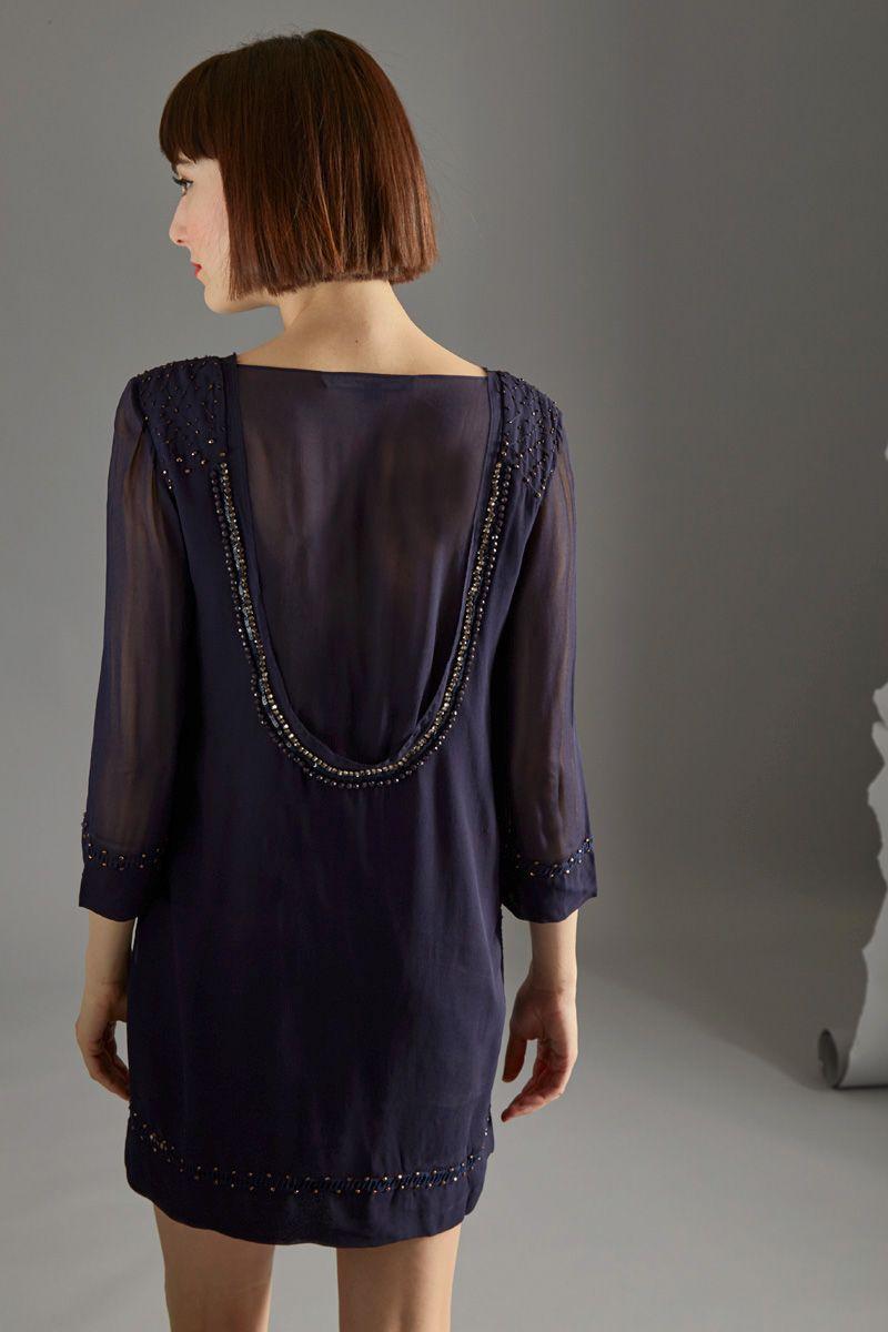 Venda French Connection / 33143 / Vestidos / Colorido liso / Vestido com sequins Azul-marinho